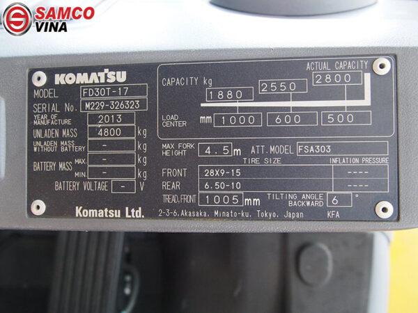 thông số xe nâng dầu komatsu 3 tấn
