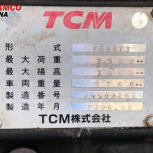 thông số xe nâng dầu tcm 2.5 tấn
