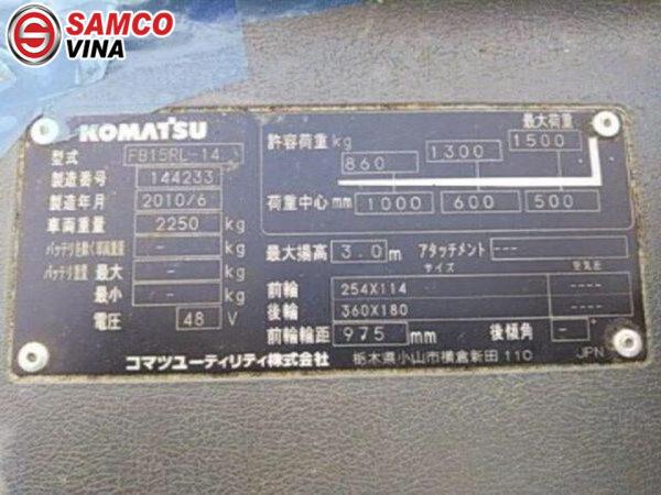thông số xe nâng điện komatsu 1.5 tấn