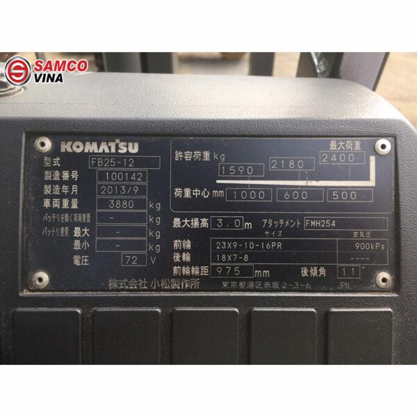thông số xe nâng điện komatsu fb25