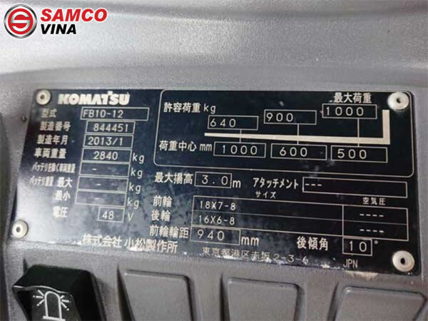 thông số kỹ thuật xe nâng điện 1 tấn