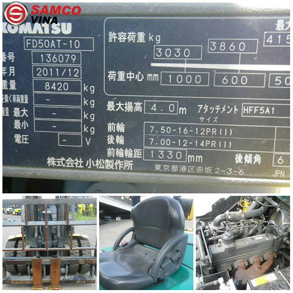 thông số xe nâng dầu komatsu 5 tấn FD50AT-10